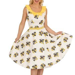 Tatyana Lemon Print Rockabilly 50's Style Dress